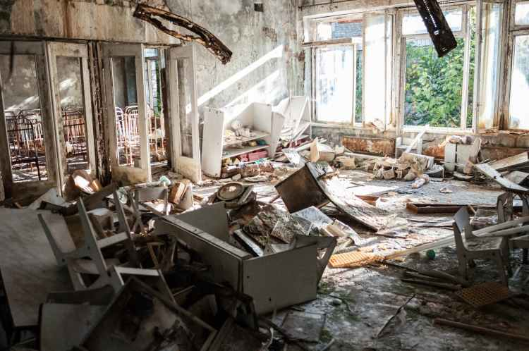 wrecked home furnitures interior